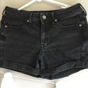 Mossimo distressed black denim shorts!